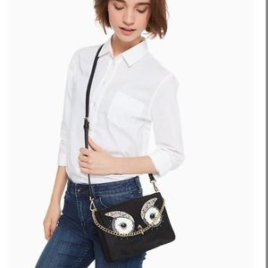 Kate spade black owl crossbody bag